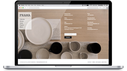 Website redesign for Copenhagen furniture design company, FRAMA